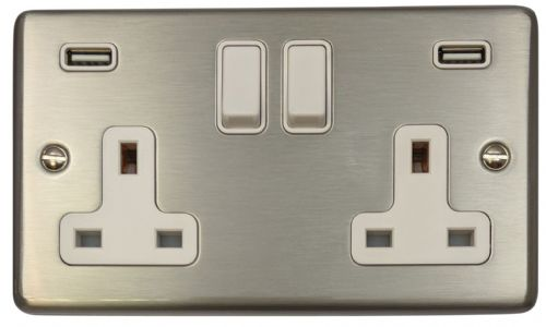 G&H CSS910W Standard Plate Brushed Steel 2 Gang Double 13A Switched Plug Socket 2.1A USB